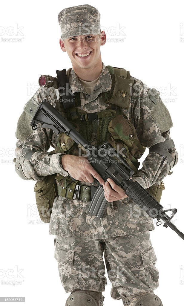 Happy army man with a rifle royalty-free stock photo