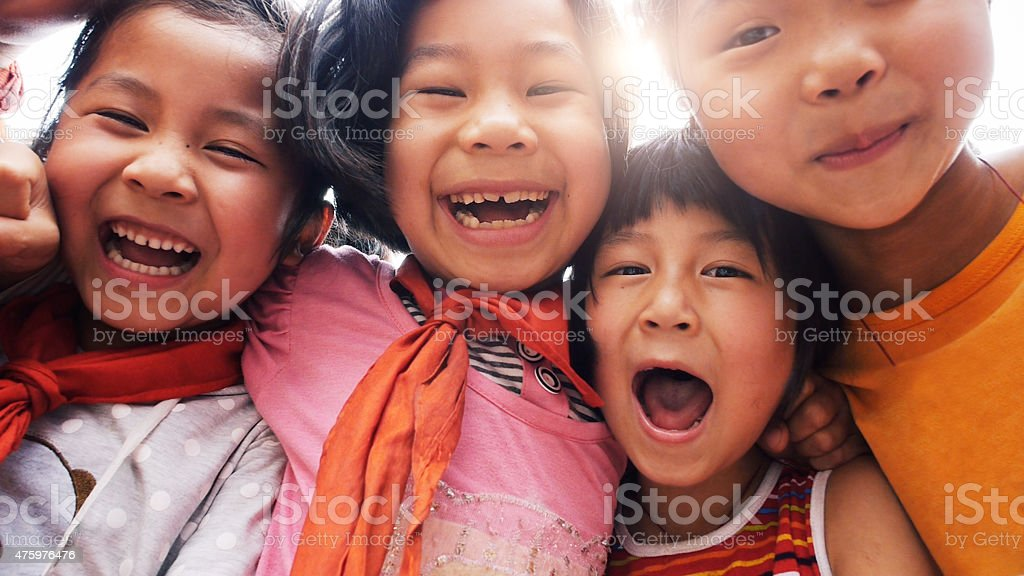 Happy asian children close up stock photo