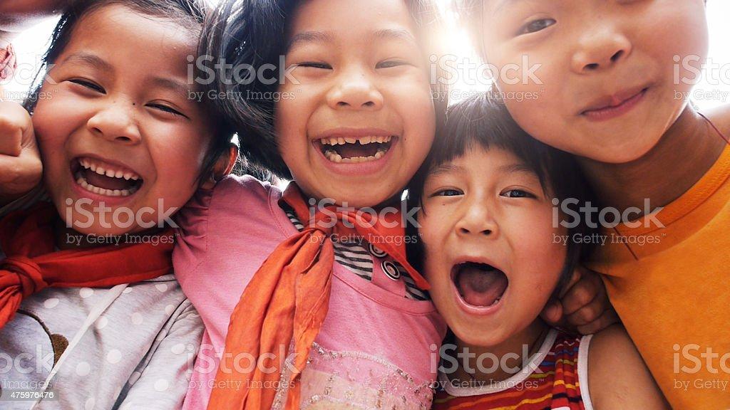 Happy asian children close up stock photo