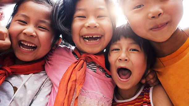 Gros plan des enfants heureux asiatique - Photo
