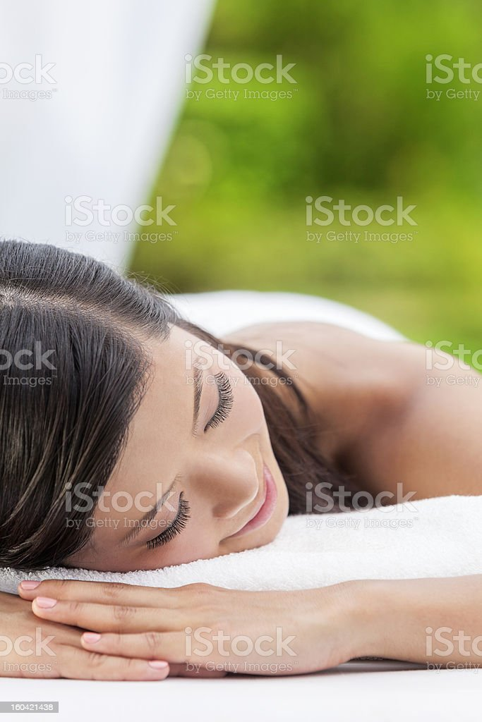 Happy Asian Chinese Woman Relaxing Health Spa royalty-free stock photo