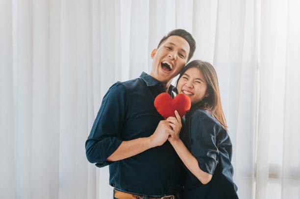 Happy Asian couple in love stock photo