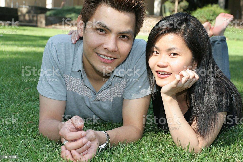 Happy asian couple outdoors royalty-free stock photo
