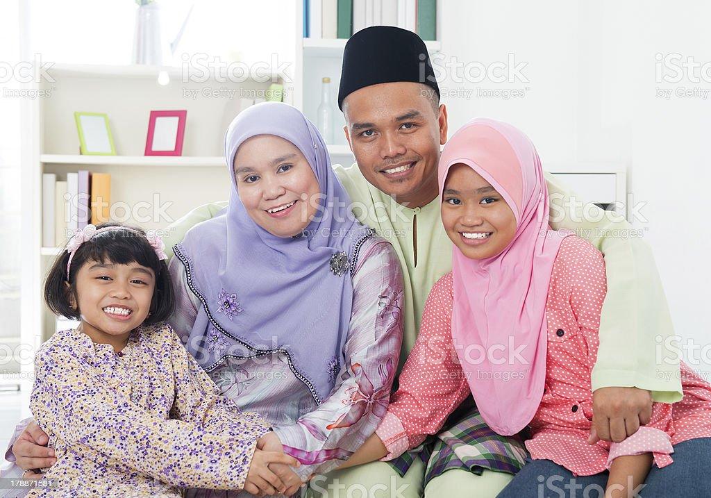 Happy Asian family at home. stock photo