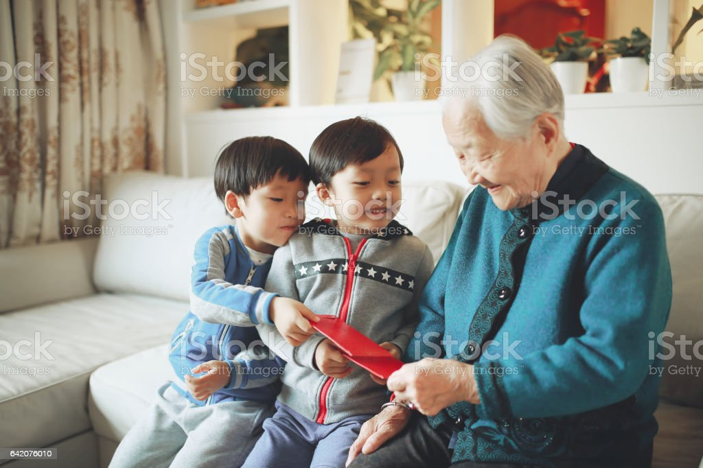 Happy Asian family, in the new year stock photo