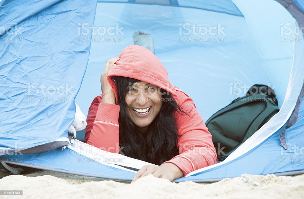 happy asian female camping royalty-free stock photo
