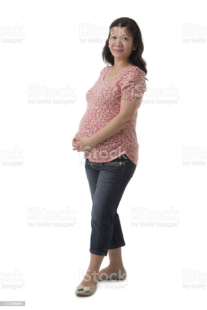Happy Asian pregnant woman royalty-free stock photo