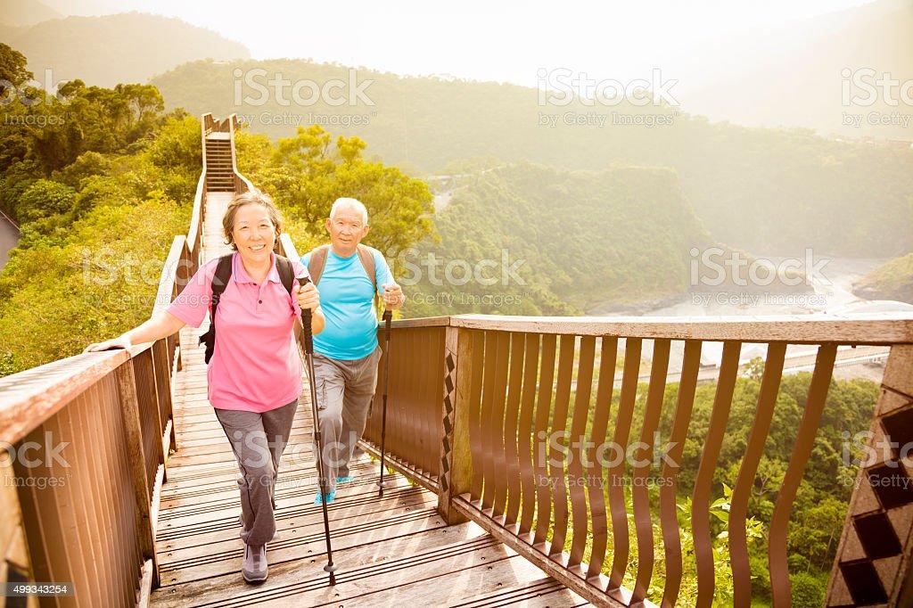 Casal sênior feliz asiática caminhadas na montanha - foto de acervo