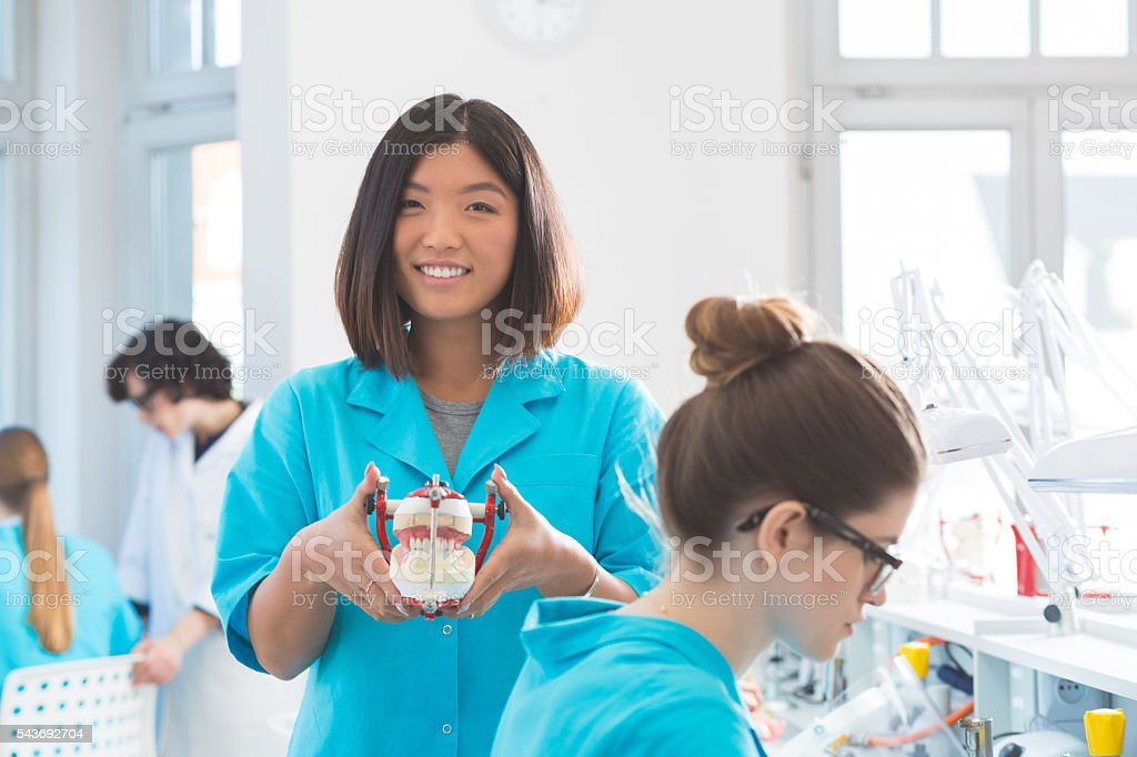 Happy asian student holding denture stock photo