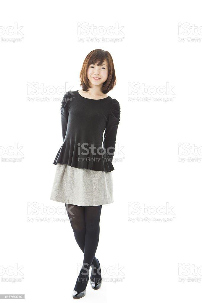 Happy Asian Woman Full Body Standing stock photo