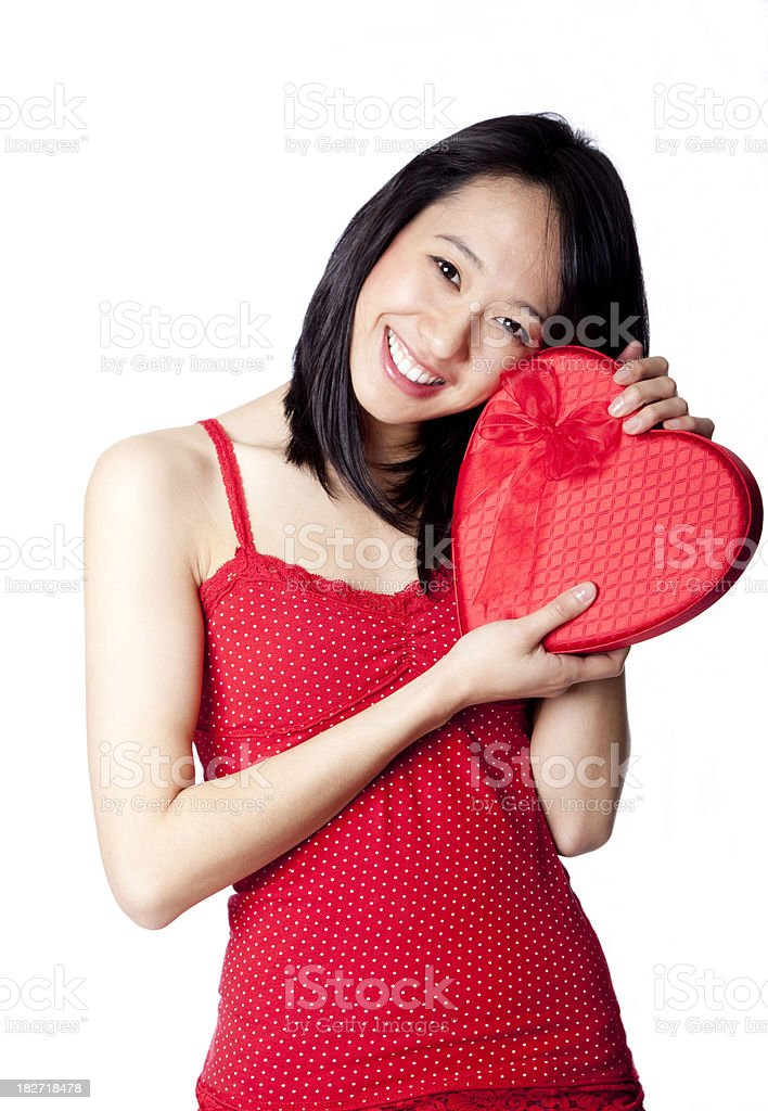 happy Asian woman with Valentine box royalty-free stock photo