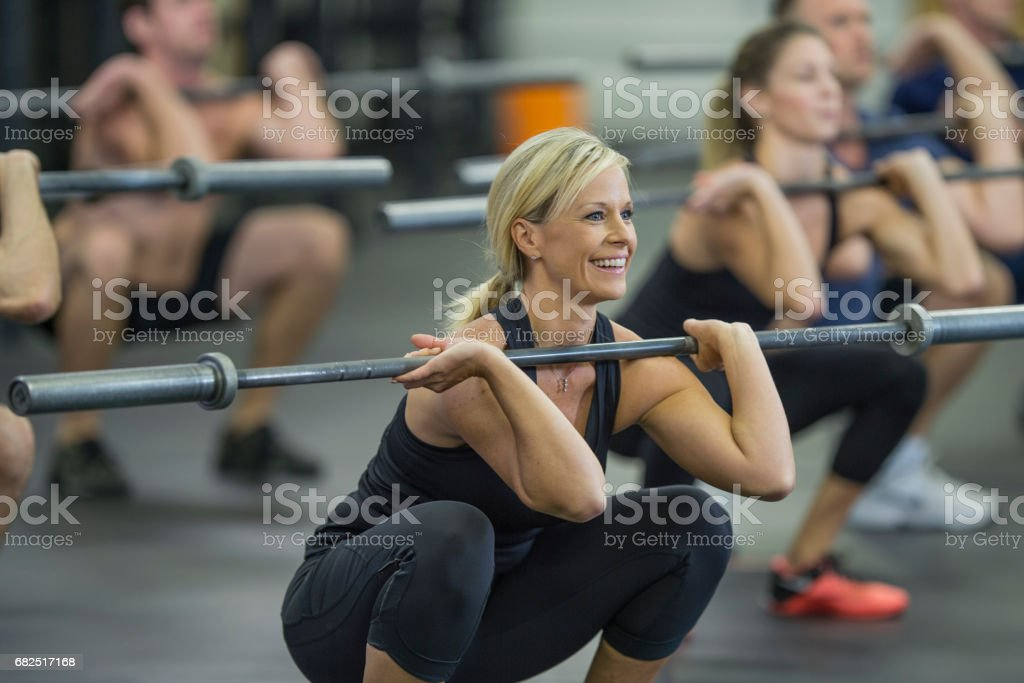 Spor salonunda mutlu royalty-free stock photo