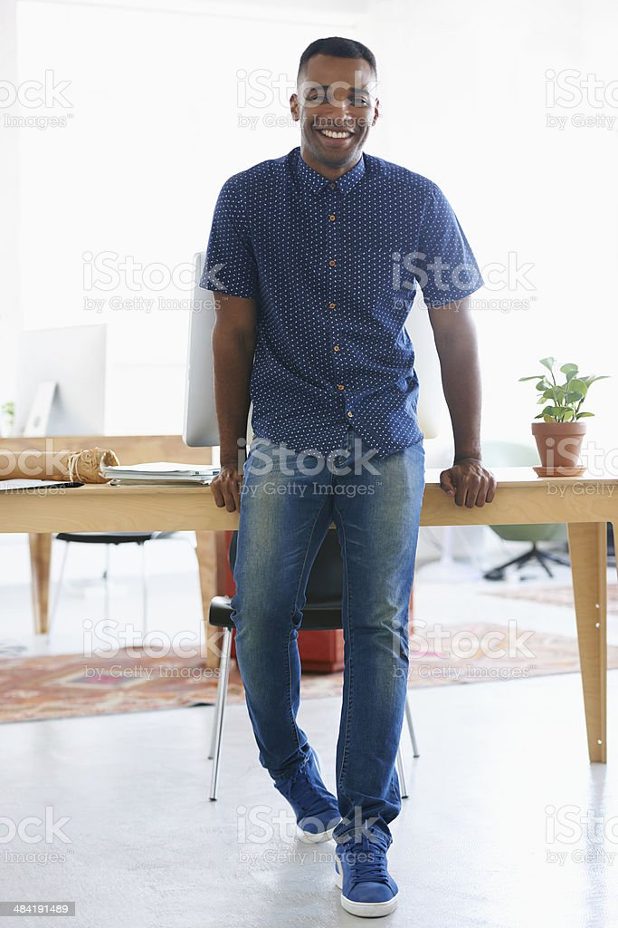 Happy at the workplace stock photo