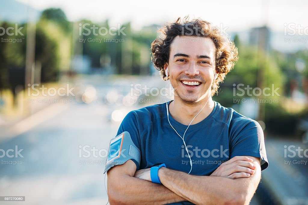 Happy athlete royalty-free stock photo