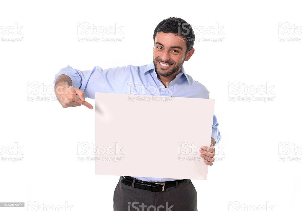happy attractive businessman holding blank billboard as copyspace stock photo
