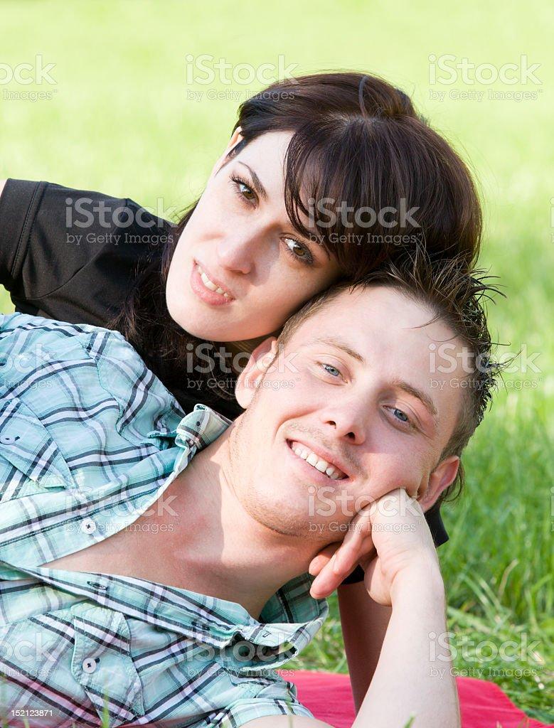 Happy attractive couple - portrait stock photo