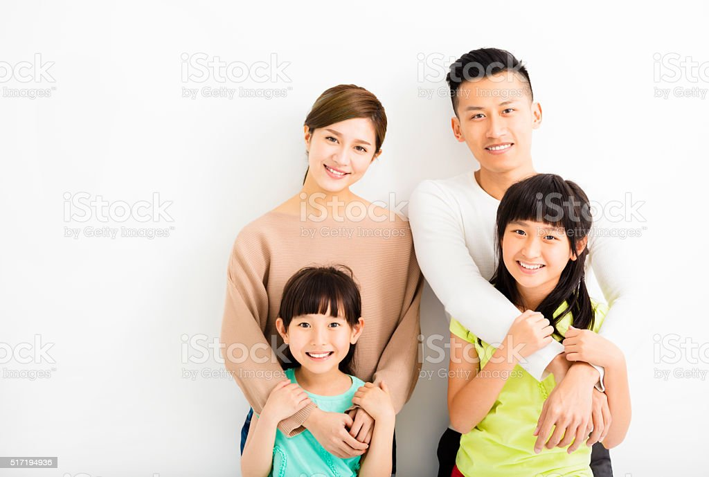 Happy Attractive Young  Family Portrait stock photo