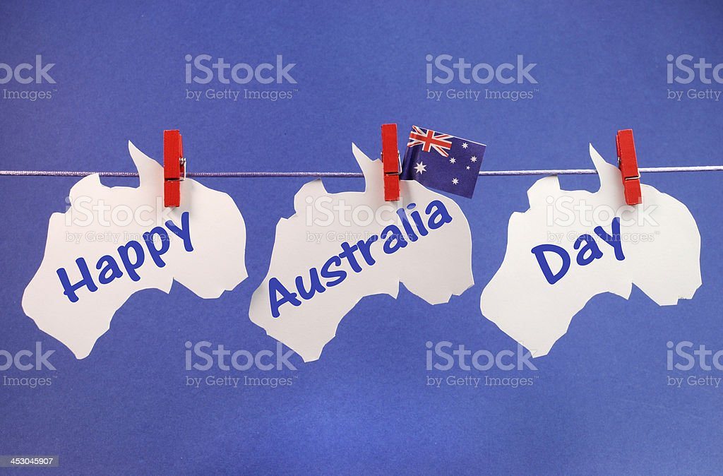 Happy Australia Day message across pegs on a line stock photo