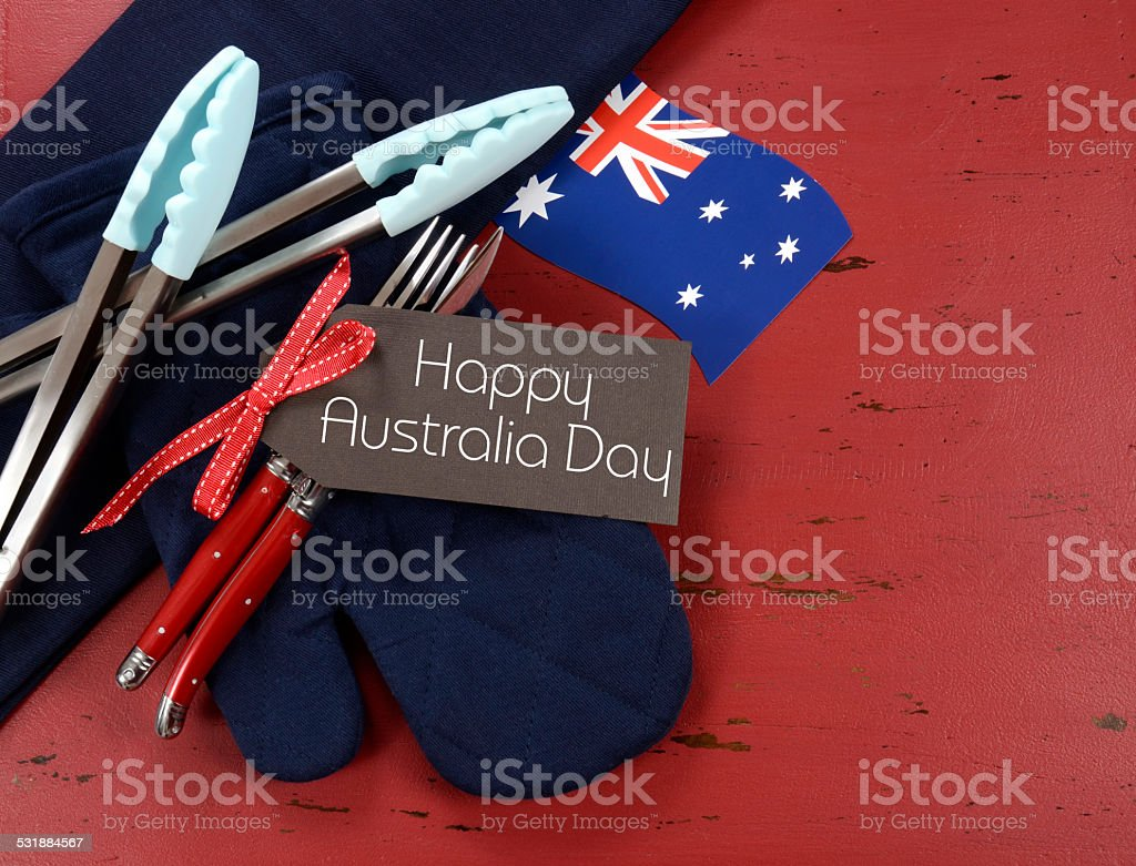 Happy Australia Day theme red, white and blue barbeque setting stock photo