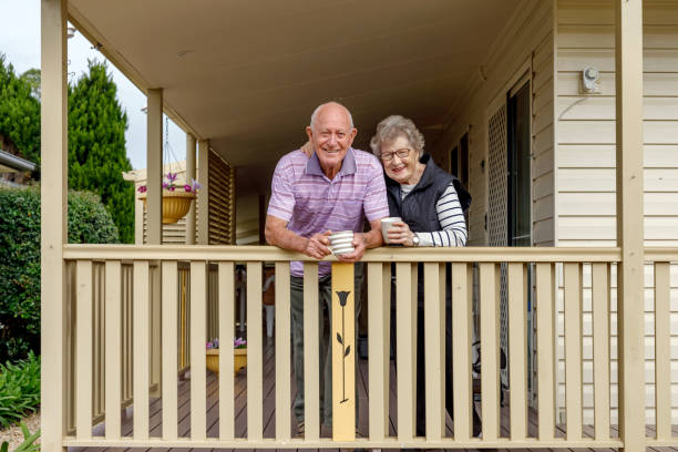 Happy Australian Senior Citizen Couple Living Independently At Own Home stock photo