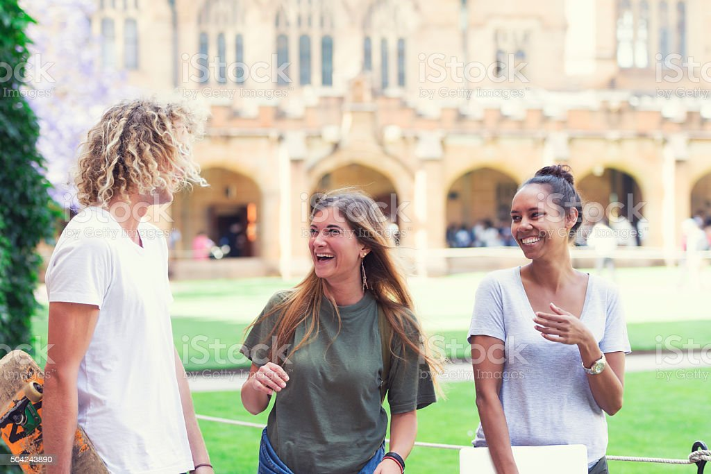 Happy Australian students stock photo