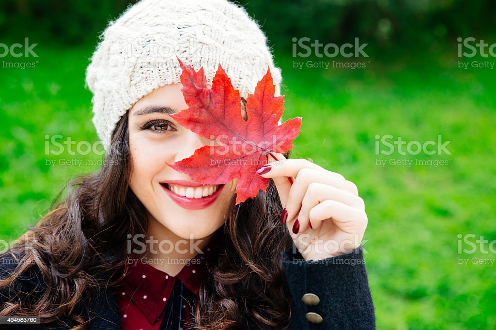 Happy autumn beauty stock photo