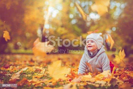istock Happy baby boy in autumn 860981122