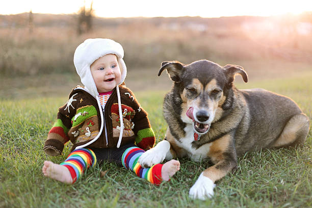 Happy Baby Bundled up Outside in Winter with Pet Dog stock photo
