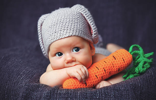 Happy baby child in costume a rabbit bunny with carrot picture id519546674?b=1&k=6&m=519546674&s=612x612&w=0&h=hskctlmx46uyebs8mgmexdsui ndd0rjbo1zaapi6bc=
