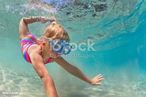 583830686istockphoto Happy baby girl dive underwater in sea pool 636043098