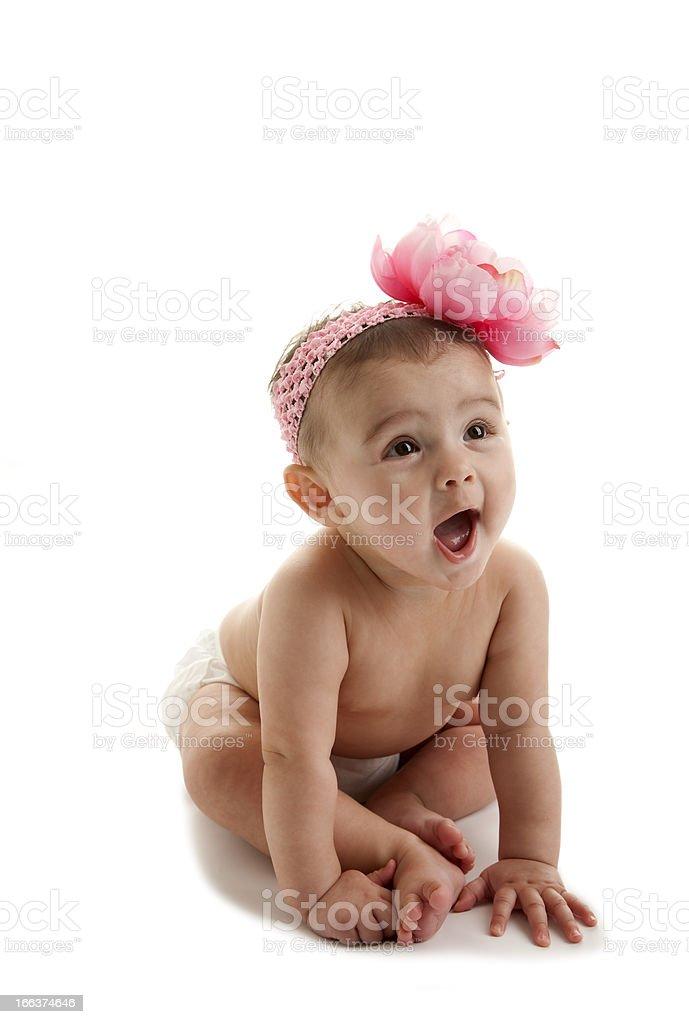 Happy Baby Girl in Diaper royalty-free stock photo