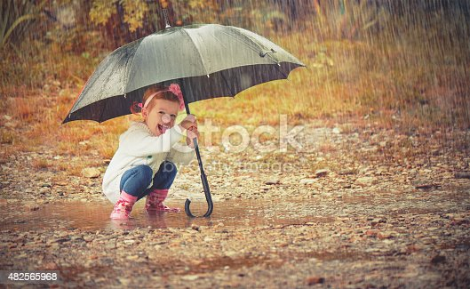 istock happy baby girl with an umbrella in rain on nature 482565968