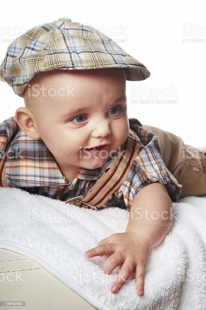 Happy baby in a cap royalty-free stock photo