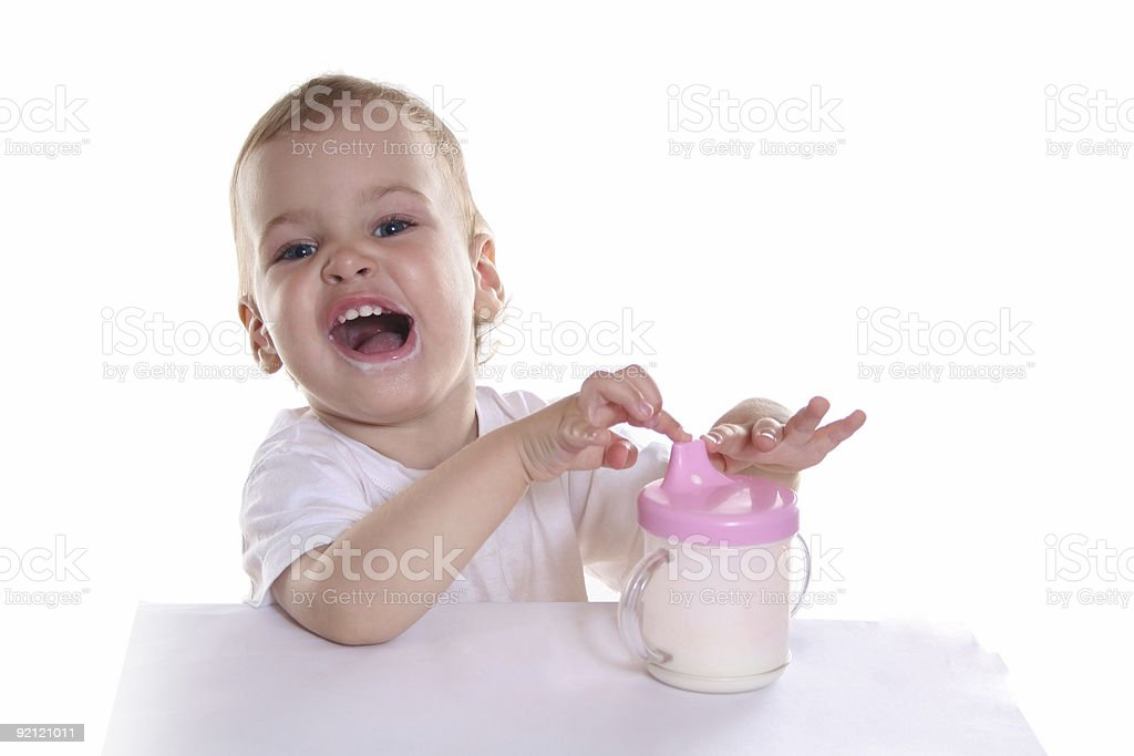 happy baby with milk royalty-free stock photo