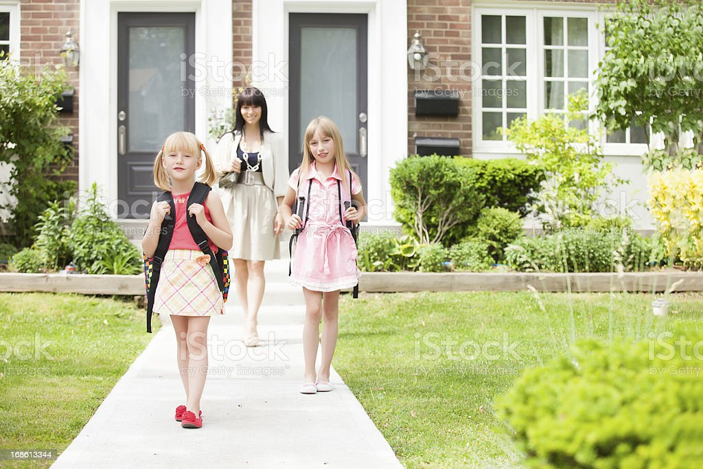happy back to school sisters stock photo