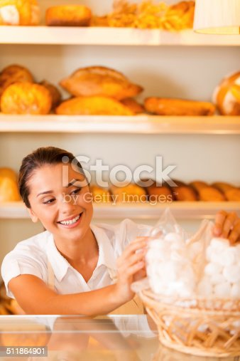 istock Happy baker at work. 511864901