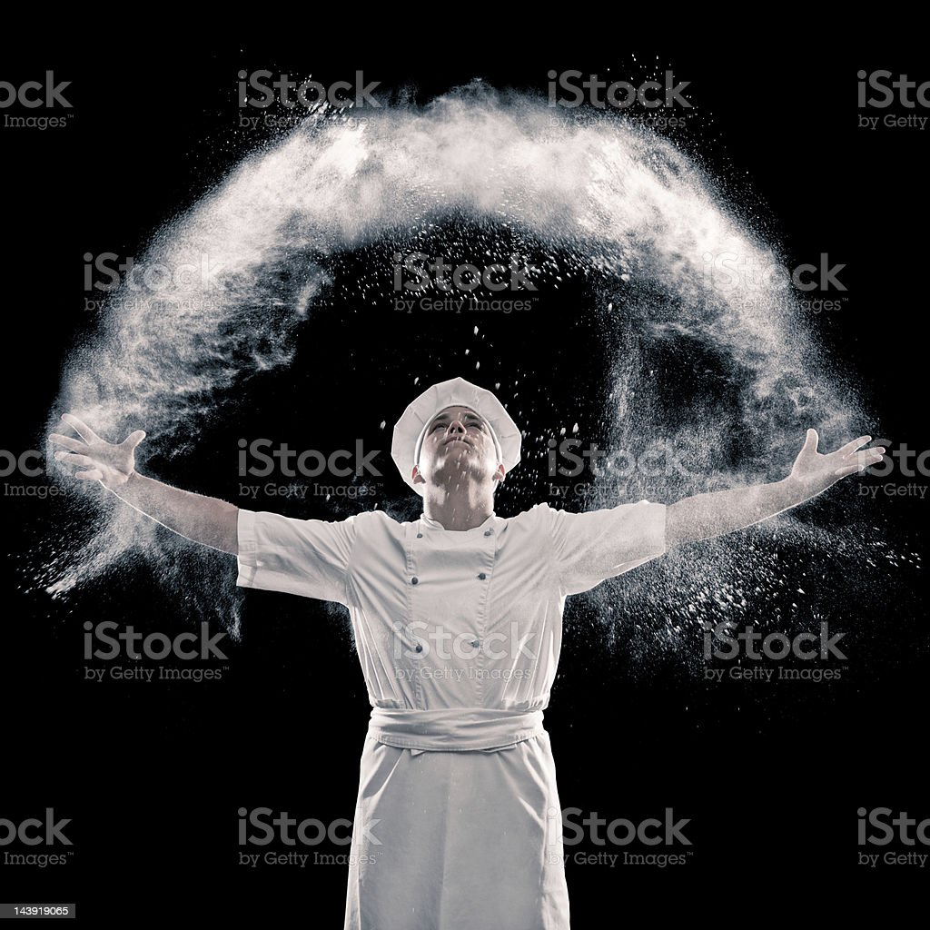 Happy baker stock photo