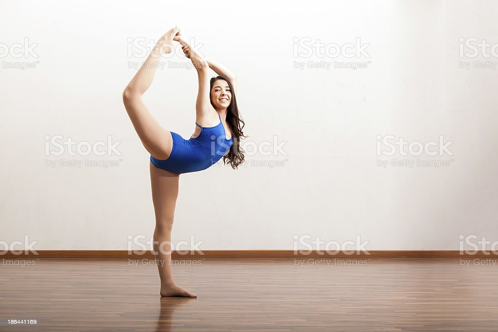 Happy ballet dancer rehearsing royalty-free stock photo