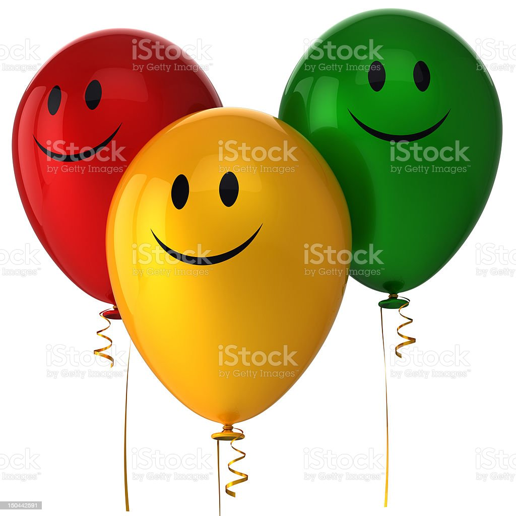 Happy balloons birthday party decoration Smile with me icon concept stock photo