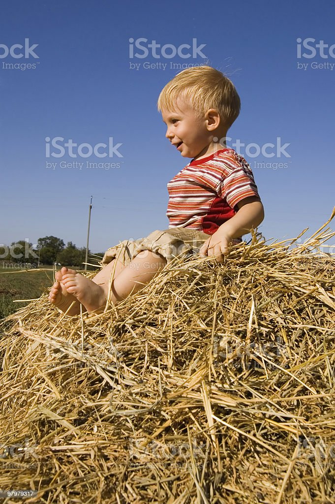 happy barefooted baby boy sit on a hayrick royalty-free stock photo