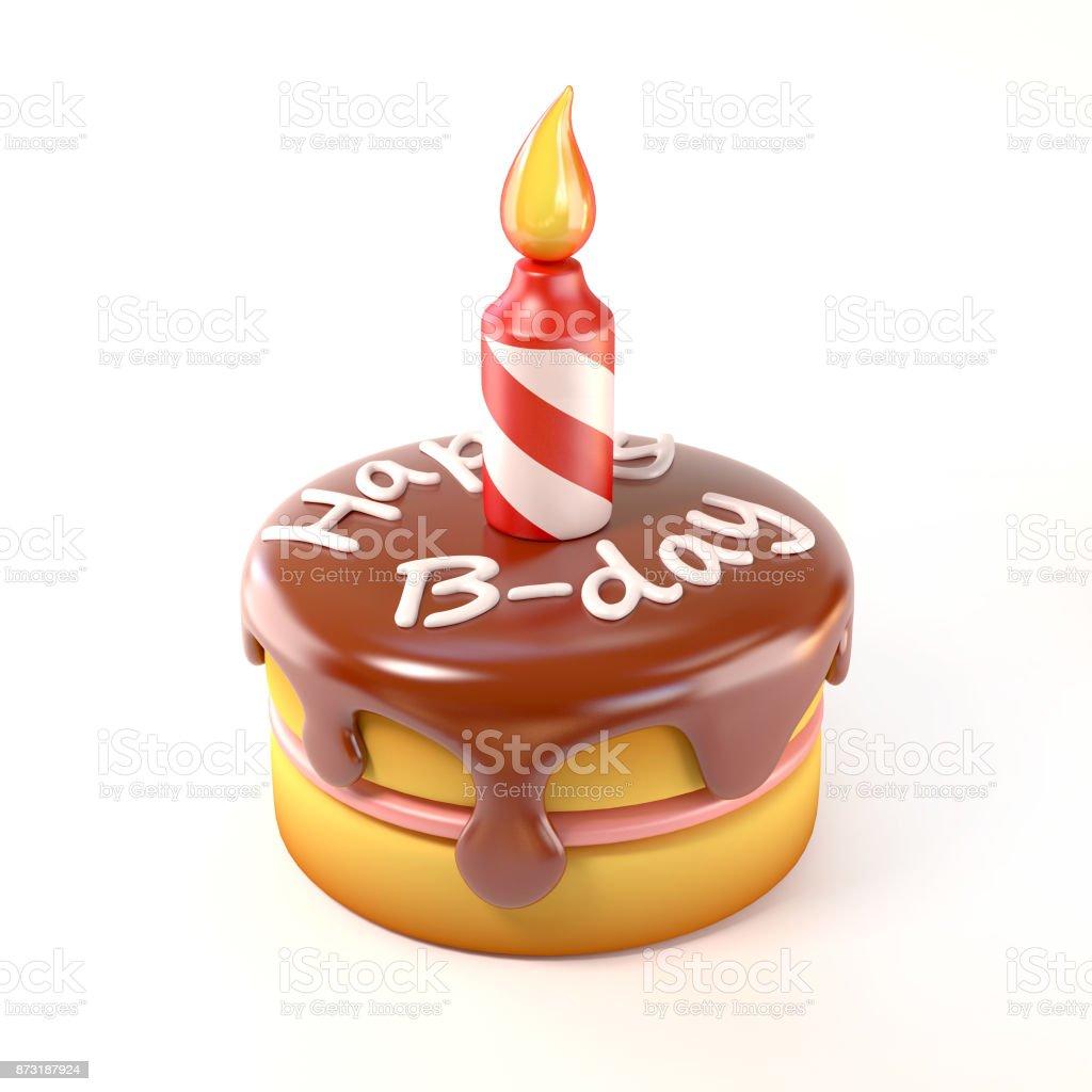 Happy Bday Kuchen Symbol Isoliert 3dillustration Stock Fotografie