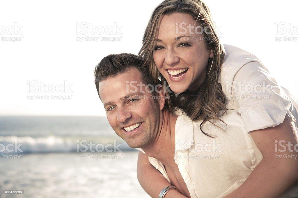 Happy Beach Couple royalty-free stock photo