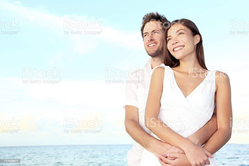 Happy beach couple portrait royalty-free stock photo