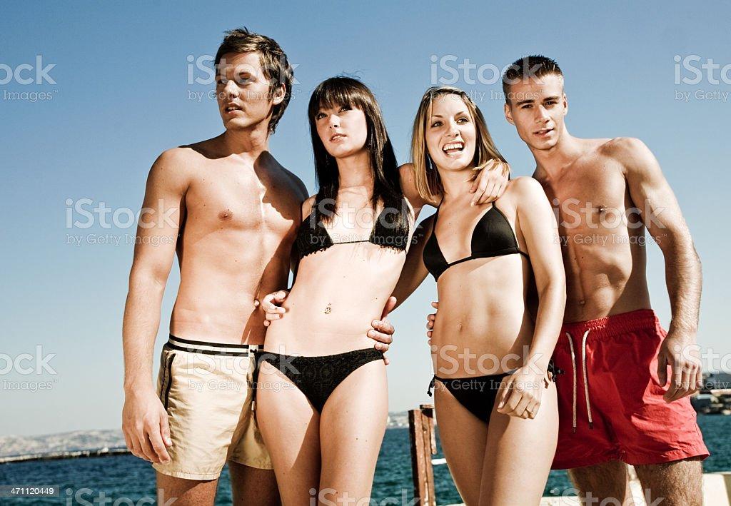 Happy Beach Group royalty-free stock photo