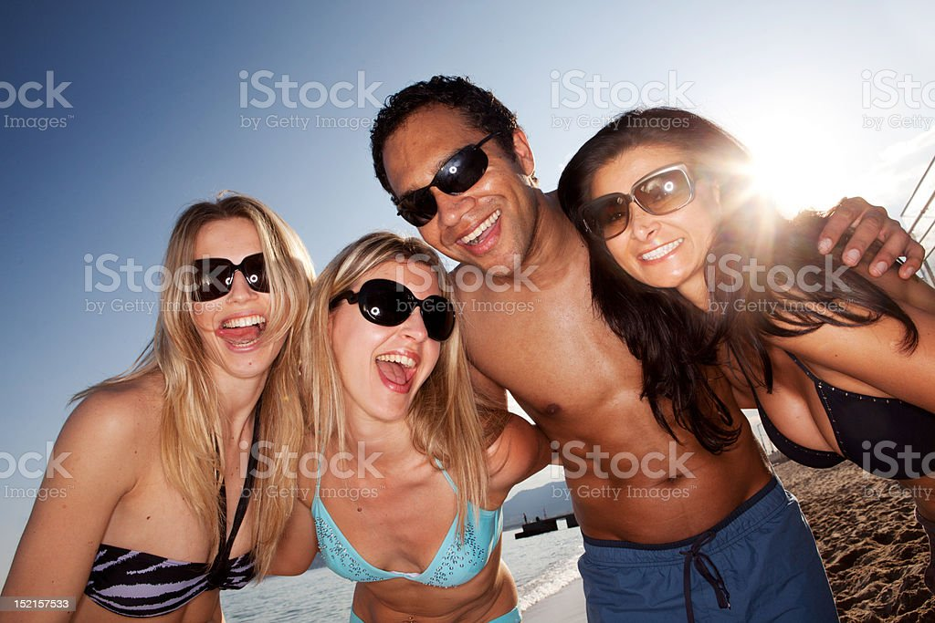 Happy Beach portrait stock photo