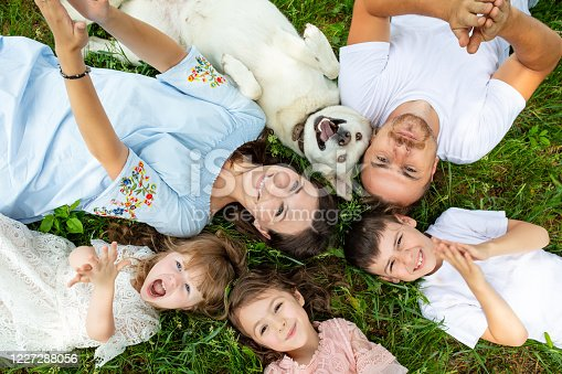 istock Happy beautiful big family together mother, father, children and dog lying on the grass top view 1227288056
