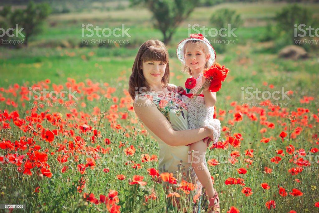 Happy beautiful mother lady posing with her cute little daughter in lovely scene of family summer life on meadow of daisy poppy flowers together stock photo