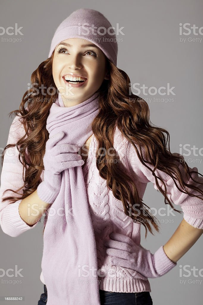 Happy beautiful woman in winter clothes royalty-free stock photo