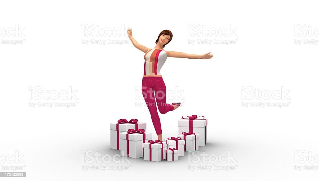Happy Beautiful Woman Surrounded By Gifts royalty-free stock photo