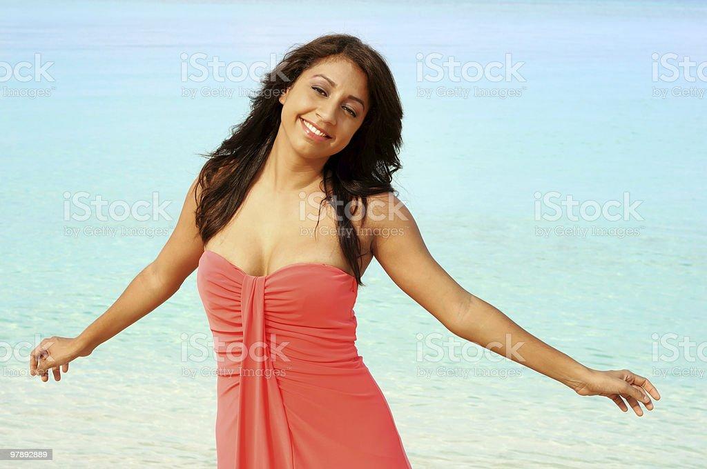 Happy beautiful women on the beach royalty-free stock photo